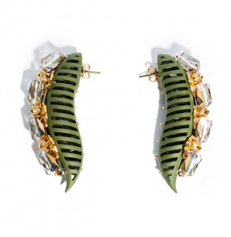 Delusional earrings in army green, € 472.66 by Heaven Tanudiredja for Honest by