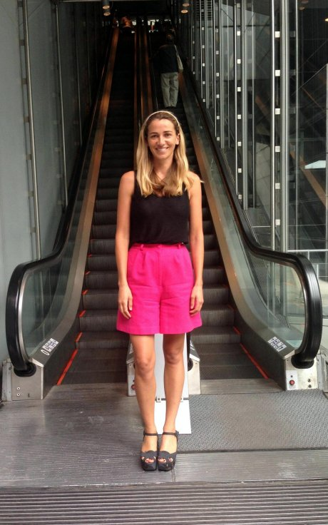 Christina Dean, founder of Hong Kong based ethical fashion NGO Redress wearing pink shorts post-repair