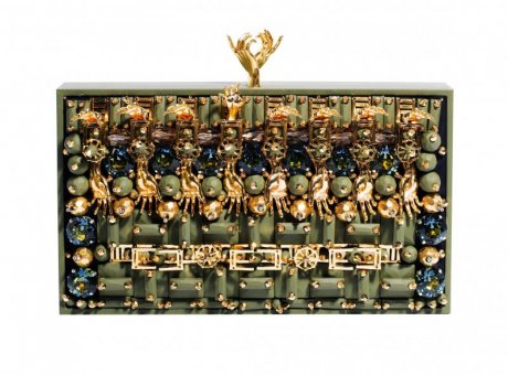 Embroidered Avoidant clutch, € 4199.73 by Heaven Tanudiredja for Honest by