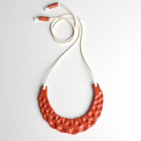 Crescent Necklace in Coral Red, handmade in clay and organic cotton, £68 by A Alicia