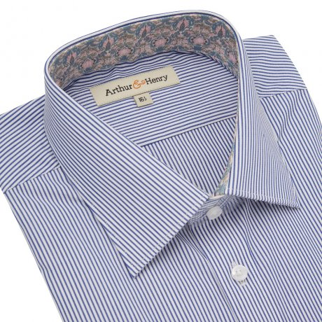 Ethical men's Blue Stripe Organic Cotton Shirt With Trim by Arthur & Henry
