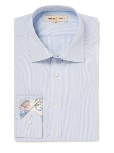Blue fine stripe shirt in organic cotton, £79 by Arthur & Henry