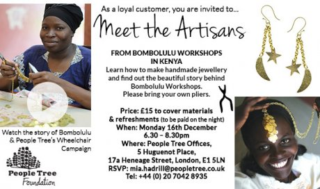 Bombolulu Fair Trade jewellery making workshop with ethical fashion brand People Tree and founder Safia Minney