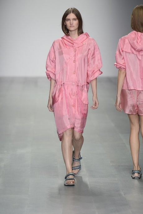 Christopher Raeburn London Fashion Week SS15 Ascent collection - military parachute upcycled into a pink parka
