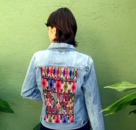 One-of-a kind Maya textile jean jacket, handcrafted from repurposed Maya Huipiles and 'gently worn' denim jacket, £83.30 (from Etsy) by Coleccion Luna