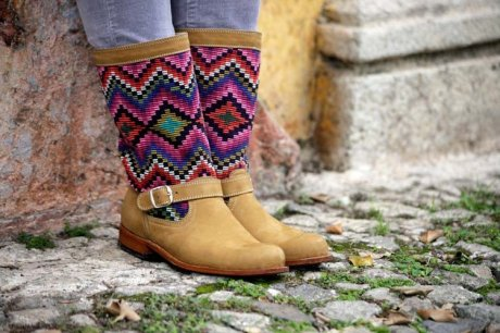 Bespoke Biker Boots, handcrafted from repurposed Maya Huipiles and local leather, $350 by Coleccion Luna