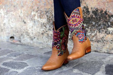 Bespoke Cowboy Boots, handcrafted from local leather and repurposed Maya Huipiles, $350 by Coleccion Luna