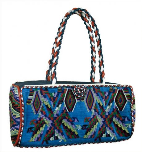 Coleccion Luna bag collaboration with Italian designer Rosangela Veglio. Produced using Fair Trade practices and upcycled vintage Maya Huipiles in Guatemala