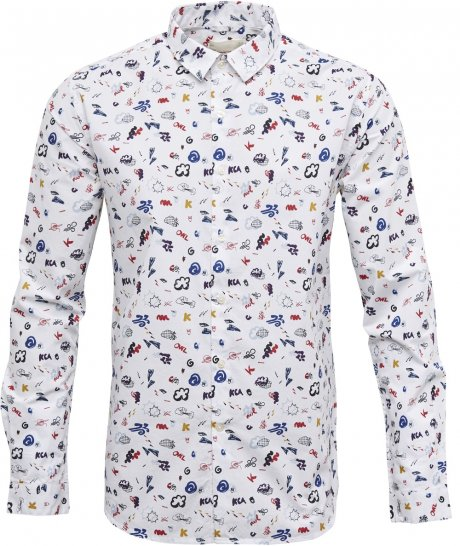 GOTS certified organic cotton concept print men's shirt by Knowledge Cotton Apparel