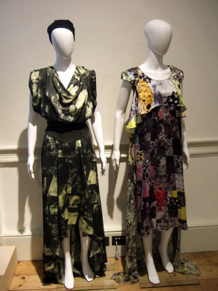 Left: flower-dyed bamboo dress with fig tree fibre panel. Right: digitally printed silk dress by Ada Zanditon from 'Walk of the Tiger' collection