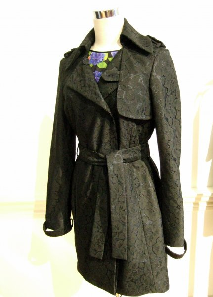 'Mana' Trench in british lace worn over 'Ryoko' dress in ladybird black, by Beautiful Soul London