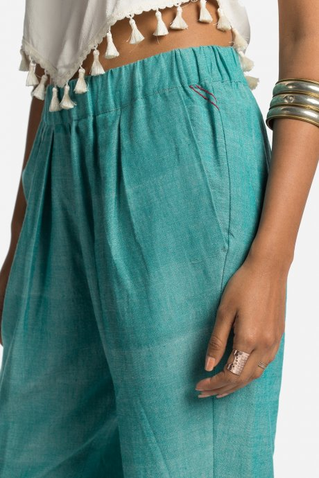 Easy Dhoti Pants in Chambray Mint, by Matter Prints