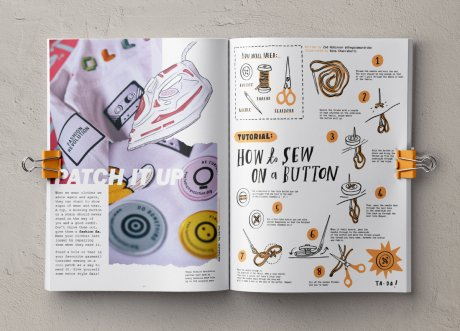 Fashion Revolution Loved Clothes Last fanzine featuring Zoe Robinson's 'How to sew on a button' tutorial illustrated by Nina Chakrabarti.