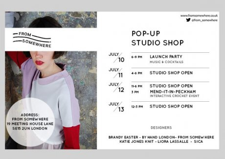 Ethical fashion desginer From Somewhere's studio pop-up shop