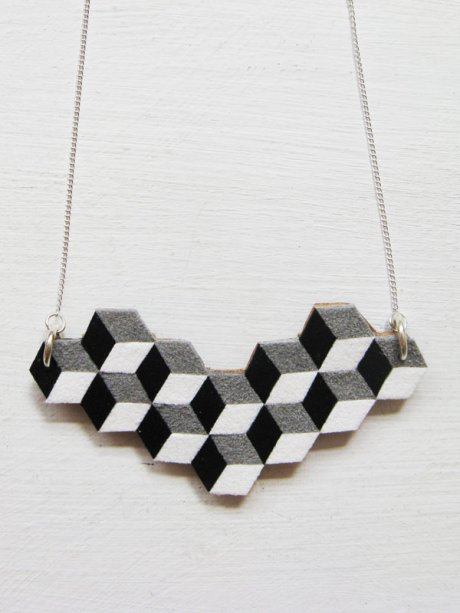 Geometric Reclaimed Leather necklace, £27.50 from by Tiny Track from London ethical fashion shop Here Today Here Tomorrow