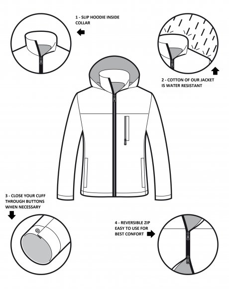 NR2 Hydro Jacket, waterproof and windproof, made in Italy using organic cotton
