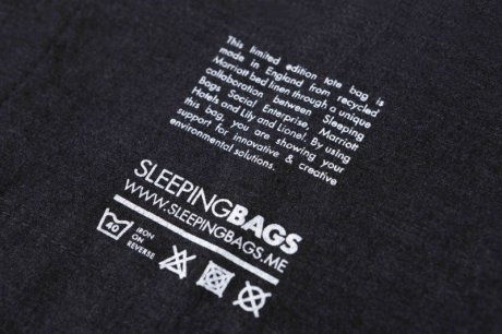 Label inside the tote - a collaboration between Sleeping Bags, Lily and Lionel and Marriott International