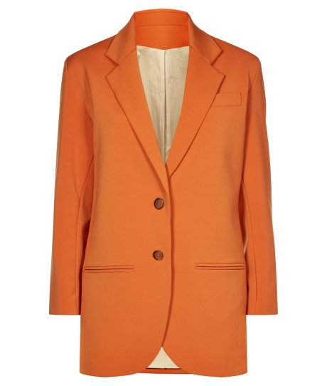 Long Blazer in Orange Grossgrain, £230 from new sustainable womenswear collection Olivia Hegarty for Traidremade