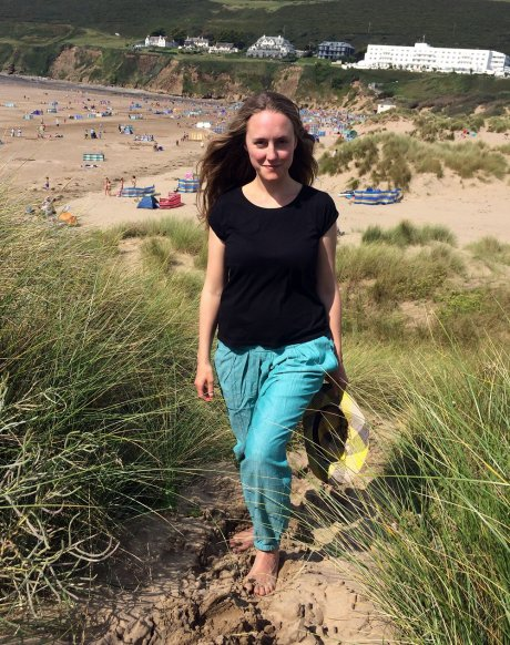 Easy Dhoti pants in Chambray Mint, by Matter Prints, worn with charity shop-bought t-shirt and Fair Trade hat from Pachacuti