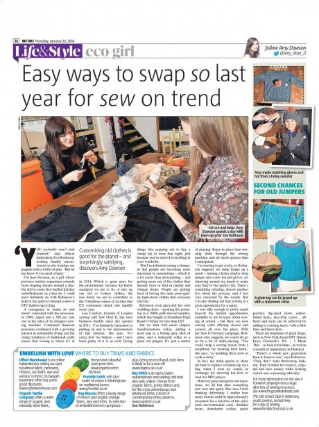 Zoe Robinson, founder of The Good Wardrobe is featured in Amy Dawson's 'Eco Girl' sewing and ethical fashion column for Metro