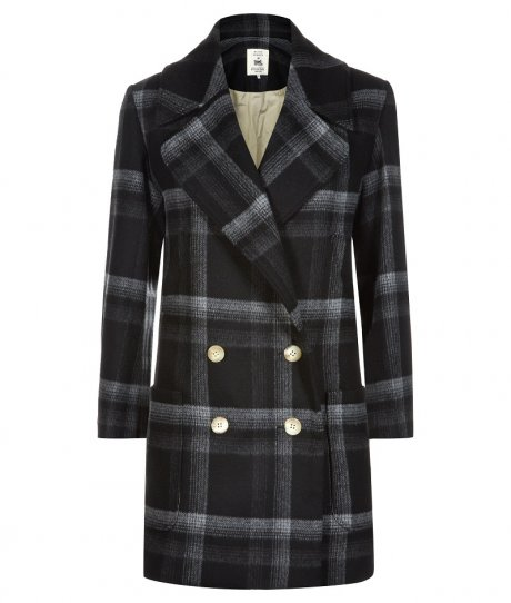 Wool Overcoat in Large Grey Check, £270 from new sustainable womenswear collection Olivia Hegarty for Traidremade