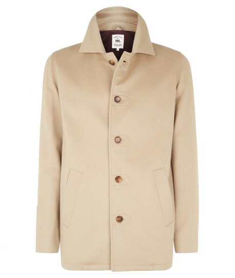 Pea Coat in Camel Cashmere, £285 from new sustainable menswear collection Percival for Traidremade