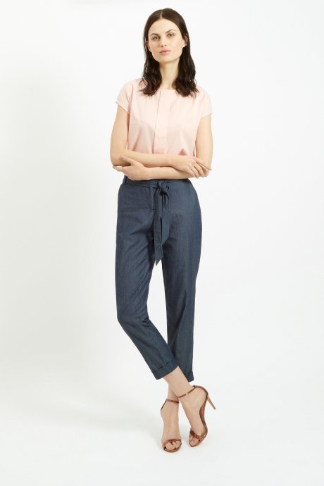 Aerin top in Pink £48 €65 and Carly chambray trousers £75 €99 by ethical and Fair Trade Fashion brand People Tree