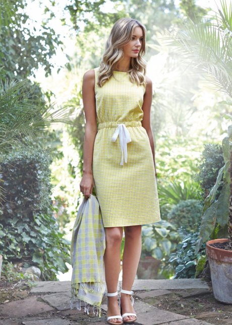 Alison Gather Waist Dress in Yellow, made with 100% organic cotton by Fair Trade certified ethical fashion brand People Tree. Price varies according to stockist