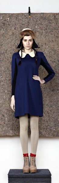 'Aran Collar Dress' by Good One – made from organic cotton and wool , with upcycled collar detail.