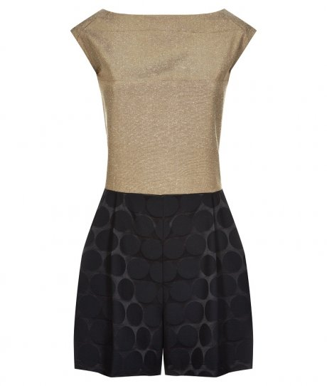 Playsuit in Navy Jacquard and Gold Slub, £120 from new sustainable womenswear collection Olivia Hegarty for Traidremade