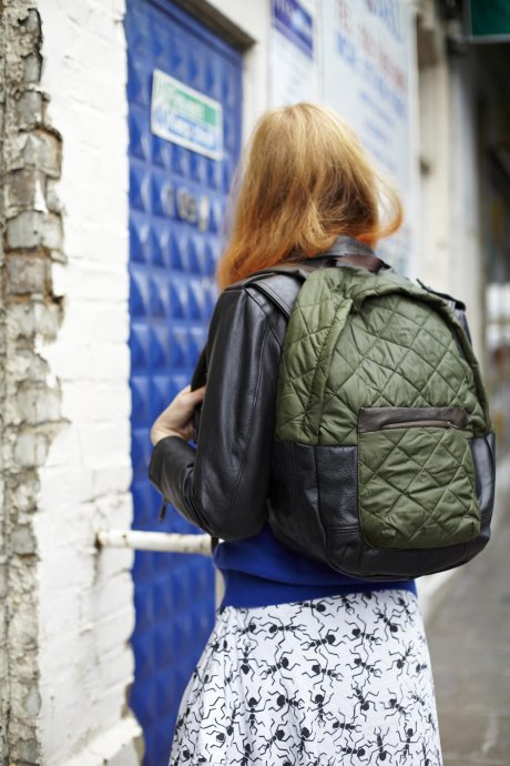 Quilted Rucksack, £65 made from khaki linings reclaimed from the RAF and leather remnants