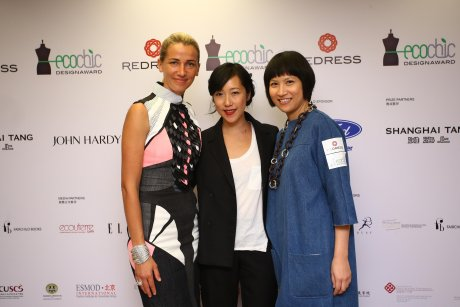 Redress founder and CEO Christina Dean at The EcoChic Design Award 2014/15 Hong Kong launch with project stylist Denise Ho and judge Janice Wong