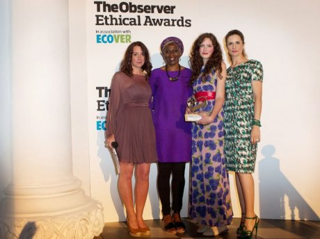 "From left: Lucy Siegle (awards founder and judge), Baroness Lola Young (judge), Rosalind Jana (""Well Dressed"" winner) and Livia Firth (judge and founder of Eco-Age, sponsor of the award)"