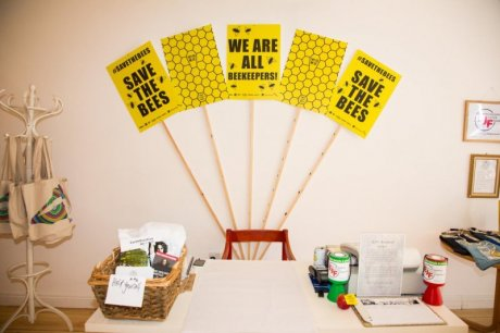 Save the Bees campaign at the EJF pop-up shop 'JUST… BIG TREES little bees' in London. Image: Josh Chow for EJF