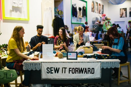 The Good Wardrobe founder Zoe Robinson (far left) during Sew It Forward at Designer Jumble for Fashion Revolution Day