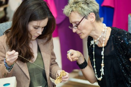 Juliette Stuart teaching her daughter Cyan some sewing tricks at the launch of Sew It Forward