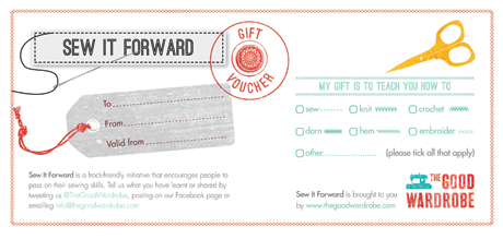 The Sew It Forward Gift Voucher from The Good Wardrobe enables you to give you sewing, knitting and mending skills as a gift
