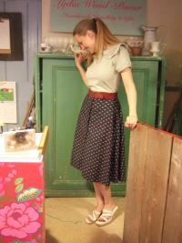 Picture of Vintage' M&S Skirt, 50p from local charity shop; belt from 'Swishing' event; top, £12 (sale) from Beaumont Organic; shoes, bought around 15 years ago