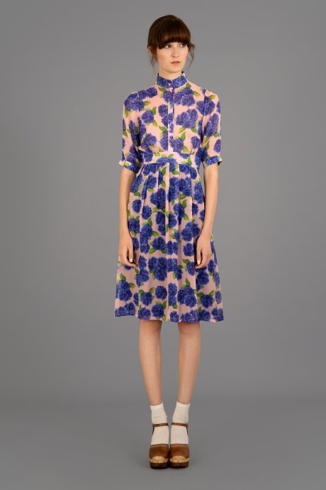 Silk Miki Dress in Signature Hyrdrangea print, Made in England by Beautiful Soul London
