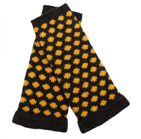 Grey and Yellow Polkadot Wristwarmers, designed and hand-made in Glasgow using 100% pure lambswool, £29 by Think Boutique