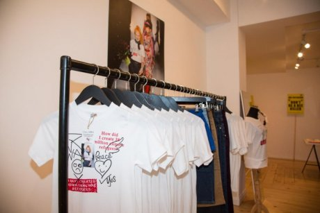War/Peace t-shirt by Vivienne Westwood for EJF, £20 in foreground of 'JUST...BIG TREES little bees' pop-up shop. Image: Josh Chow for EJF