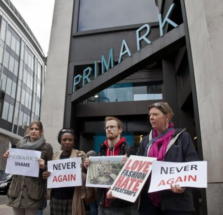Protest outside the Primark flagship store in London's Oxford Street. Photo by Julio Etchart, War on Want