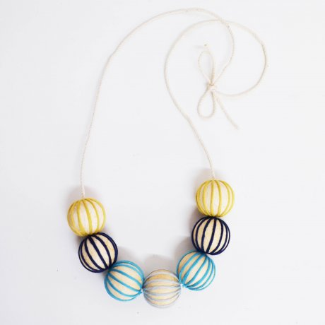 Wood and Wool Necklace by sustainable jewellery designer A Alicia