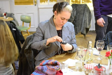 Alice Wilby, stylist and founder of Future Frock, learning to darn at Sew It Forward in The Railway pub, Streatham