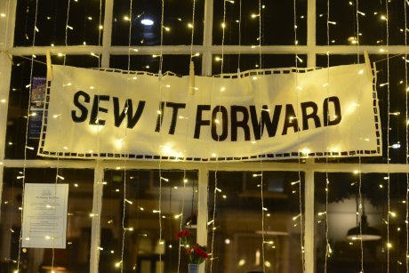 The Sew It Forward banner at The Railway, Streatham