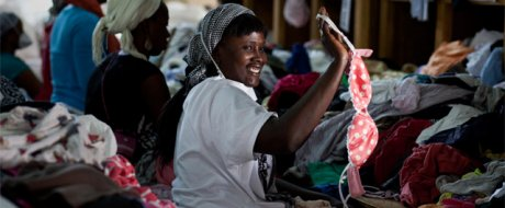 A clothes sorter at Frip Ethique - one of over 40 staff working for the Oxfam-run social enterprise in Senegal