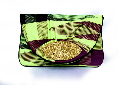 'Iris' hand-woven Saori clutch  with recycled bomb casing clasp detail, US $110 by Emi & Eve