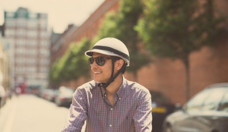 Dappercap cycling helmet, made in the UK