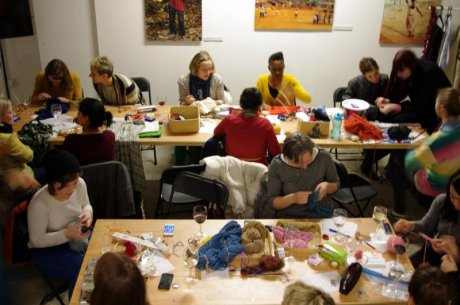 Guests enjoying sewing, knitting and Divine chocolate