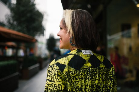 Alice Wilby on Fashion Revolution Day at Designer Jumble Westfield, wearing Choolips. Photographer: Rachel Manns